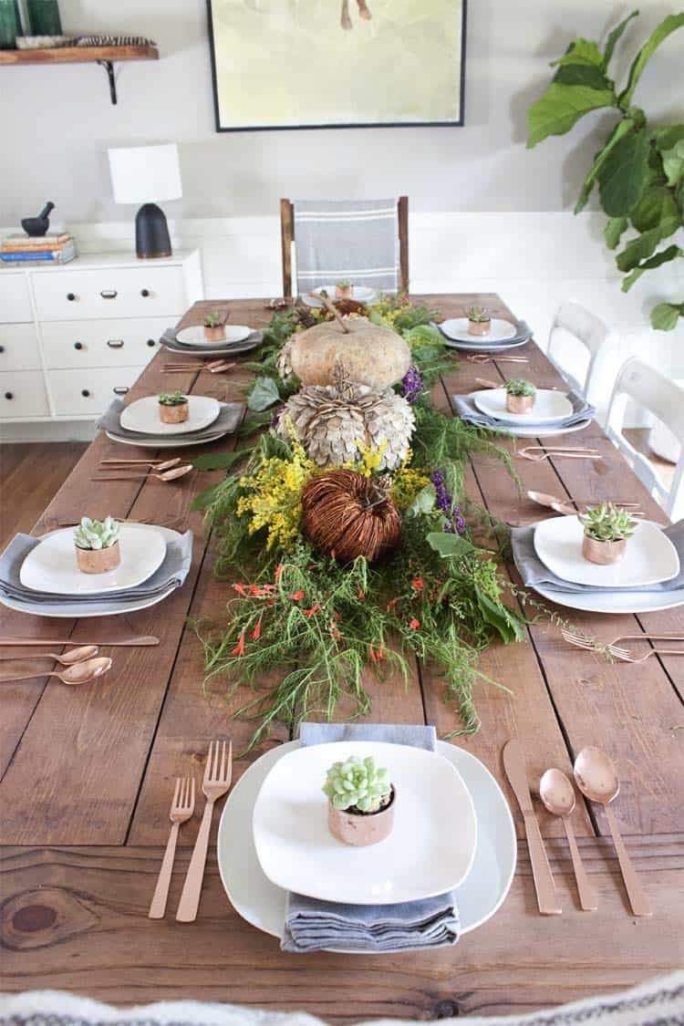 rustic and natural Fall table with copper details