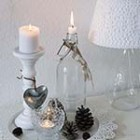 Fall decoration sidetable white cottage candle stick glass thumb