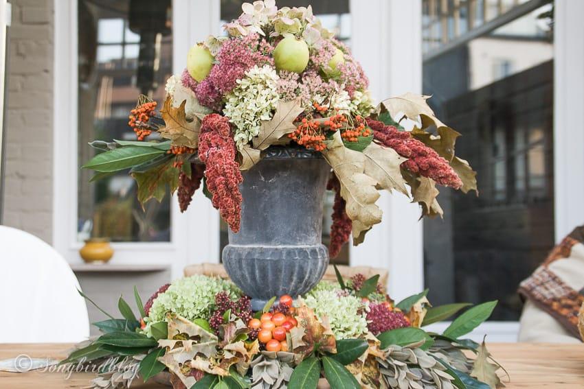 luscious Fall centerpiece on a garden table