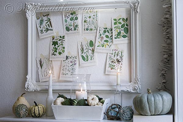 white, green, Fall mantel, beach decor, nautical, pumpkins, glass fishing floats