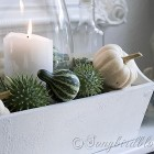 Fall mantel decoration with green and white pumpkins
