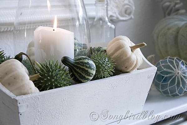 Fall mantel decoration with green and white pumpkins. Songbirdblog.com