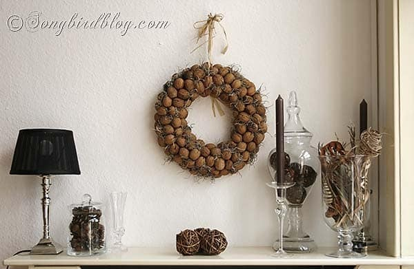 Fall mantel decoration walnut wreath