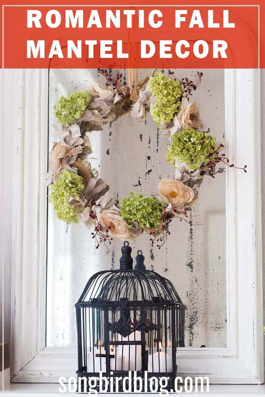 fall floral wreath on mirror with bird cage decor