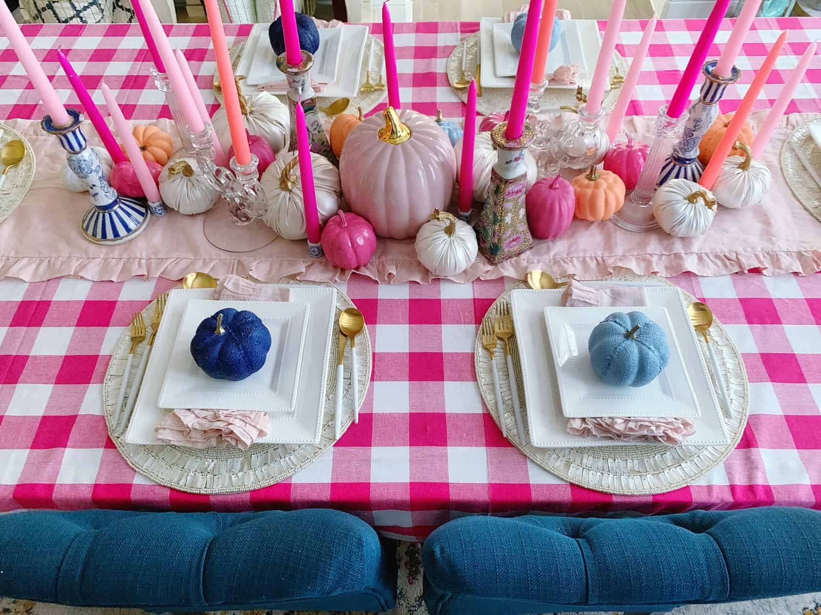 colorful Fall table setting in vibrant pink