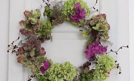 Fall Wreath with Colorful Hydrangeas