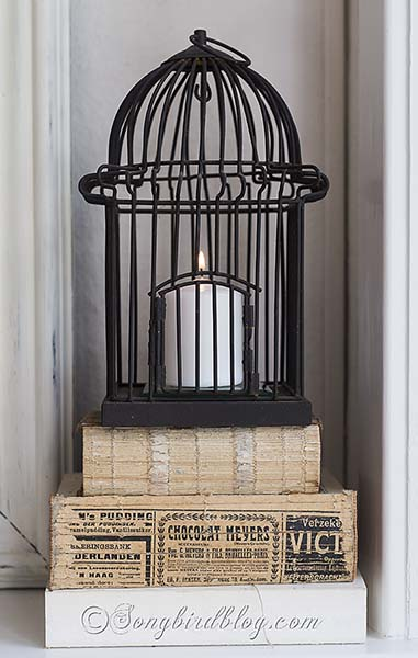 Fall_mantel_decoration_bird_cage_vintage_books