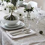 Fall table setting in green and white via http://www.songbirdblog.com (1)