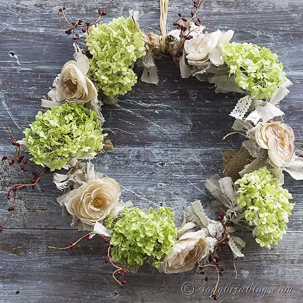 Fall Autumn wreath with hydrangeas, fabric scraps and tea dyed flowers. http://www.songbirdblog.com (5)