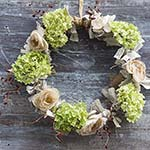 Fall Autumn wreath with hydrangeas, fabric scraps and tea dyed flowers. http://www.songbirdblog.com (3)