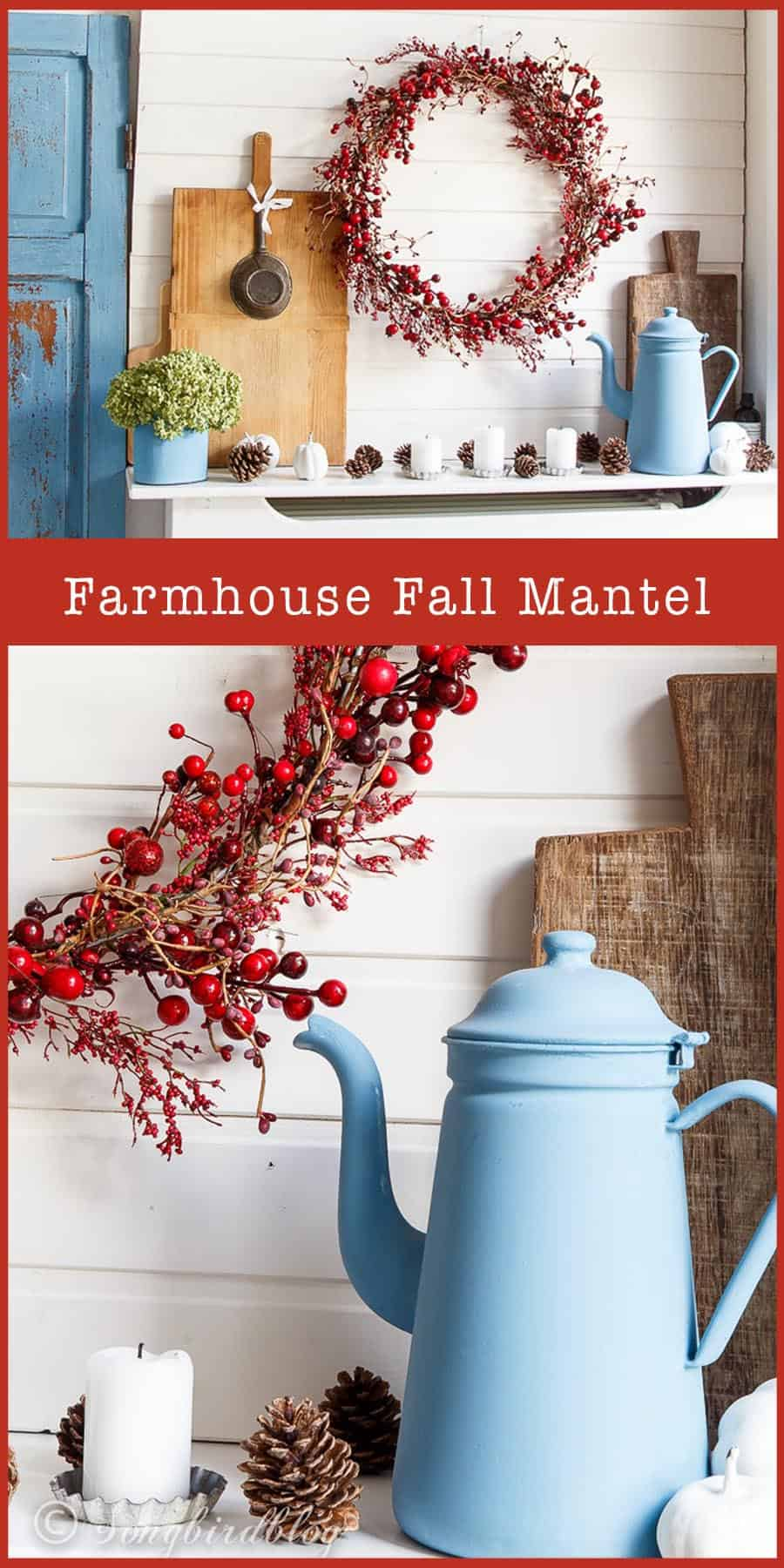 farmhouse fall mantel shelf decor