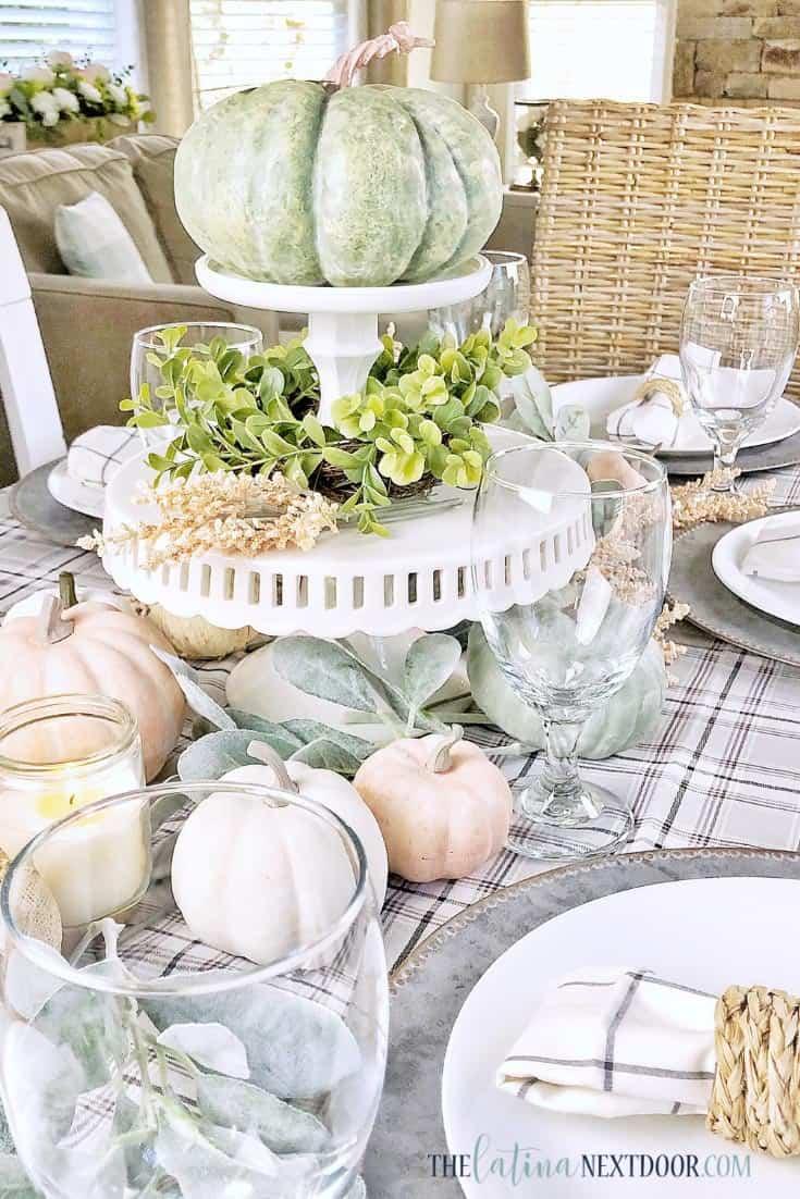 powder color Fall table scape