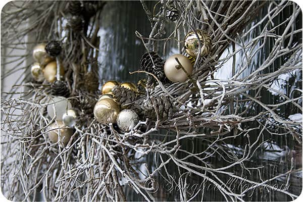 white, silver and gold twig wreath Christmas decoration