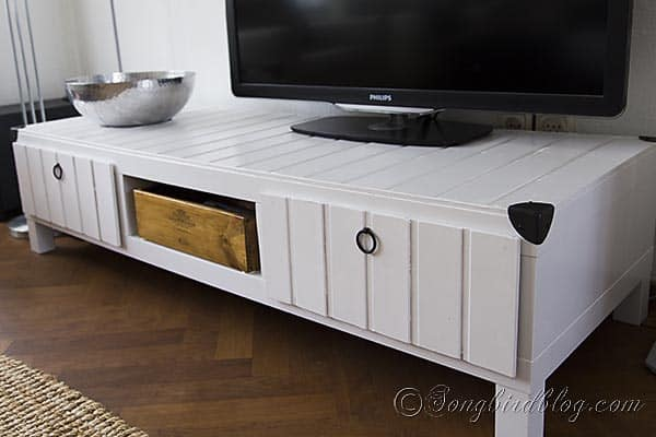 Furniture project Ikea Lack tv stand makeover hack white plank wood http://www.songbirdblog.com