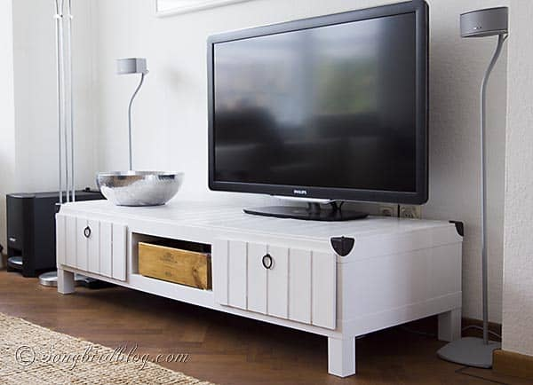 Furniture project Ikea Lack tv stand makeover hack white wood http://www.songbirdblog.com