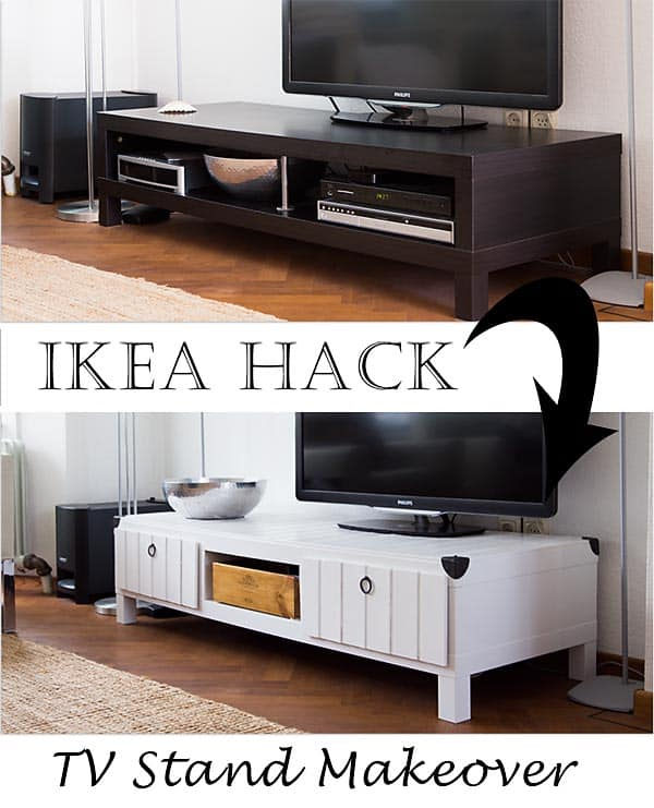 Furniture project Ikea Lack tv table makeover hack http:www.songbirdblog.com