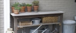 worktable made out of old garden table