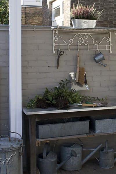 galvanized garden work bench