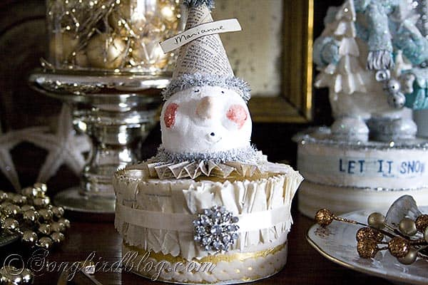 vintage craft project clay snowman