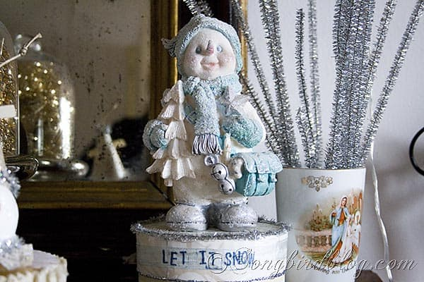 vintage glitter snowman Christmas craft decoration