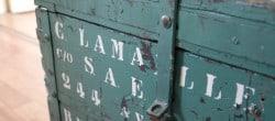 flea market find a green vintage trunk