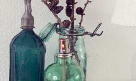 Fall decor with green vintage bottles