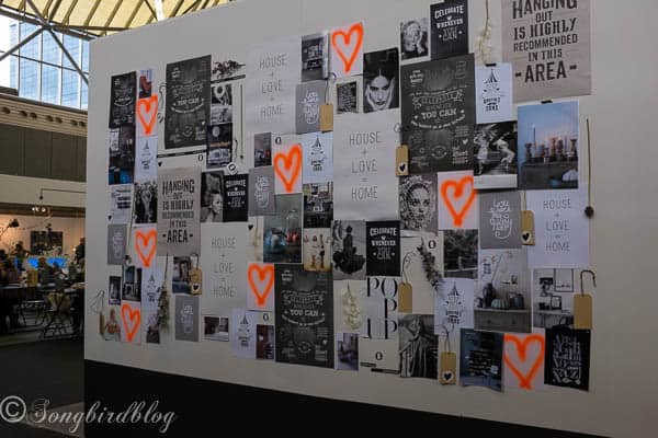 """design trend: black and white, eclectic and modern. Anyone can create a wall like this to their own hearts desire. Lovely idea. Image captured at the """"Woonbeurs Amsterdam"""" a residential living event"""