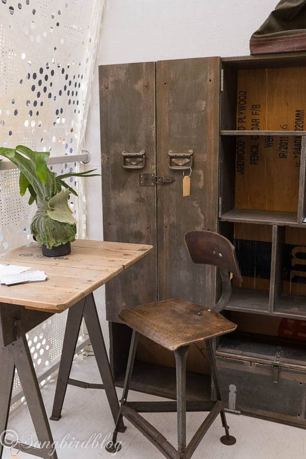 "design trend: rustic industrial furniture. Love that old locker. Image captured at the ""Woonbeurs Amsterdam"" a residential living event"