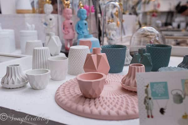 """design trend: geometrical pottery. Image captured at the """"Woonbeurs Amsterdam"""" a residential living event"""