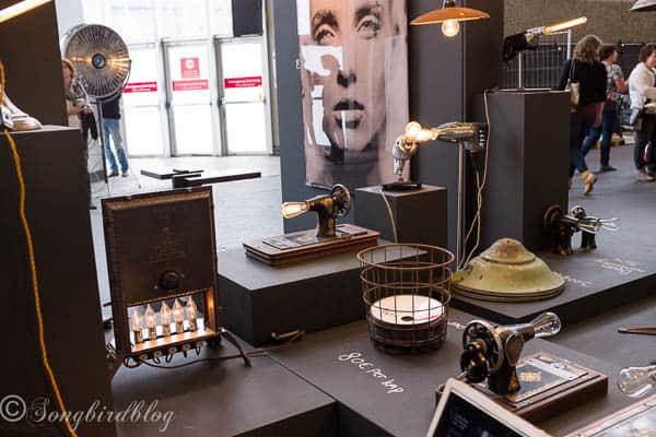 "design trend: rustic industrial quirky lamps. Love the sewing machine lamp. Image captured at the ""Woonbeurs Amsterdam"" a residential living event"