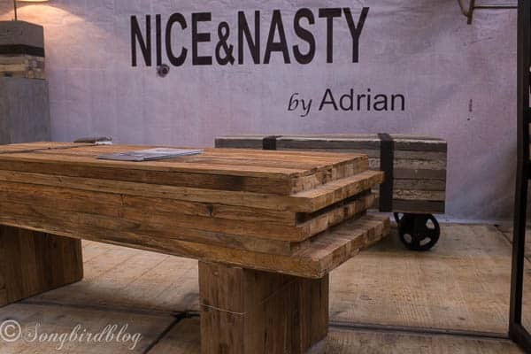 """design trend: hand crafted and rustic. Real wood coffee table. Image captured at the """"Woonbeurs Amsterdam"""" a residential living event"""