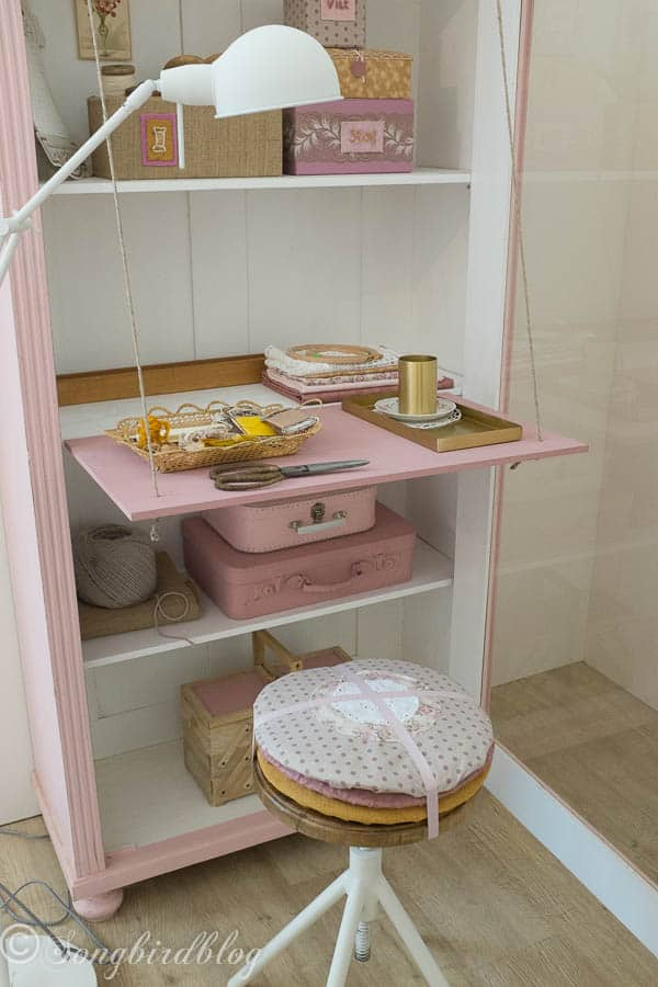 """design trend: contain clutter. Turn a closet into a craft corner and hide the mess easily. Image captured at the """"Woonbeurs Amsterdam"""" a residential living event"""