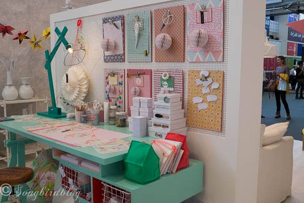 """design trend: colorful and fun. So many lovely ideas in this colorful craft corner. Image captured at the """"Woonbeurs Amsterdam"""" a residential living event"""