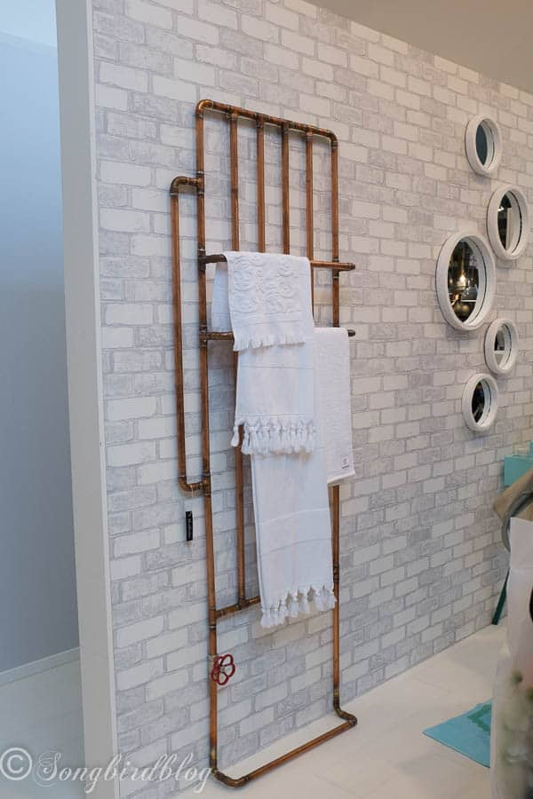 """design trend: copper. Rustic copper pipes in the bathroom. Image captured at the """"Woonbeurs Amsterdam"""" a residential living event"""