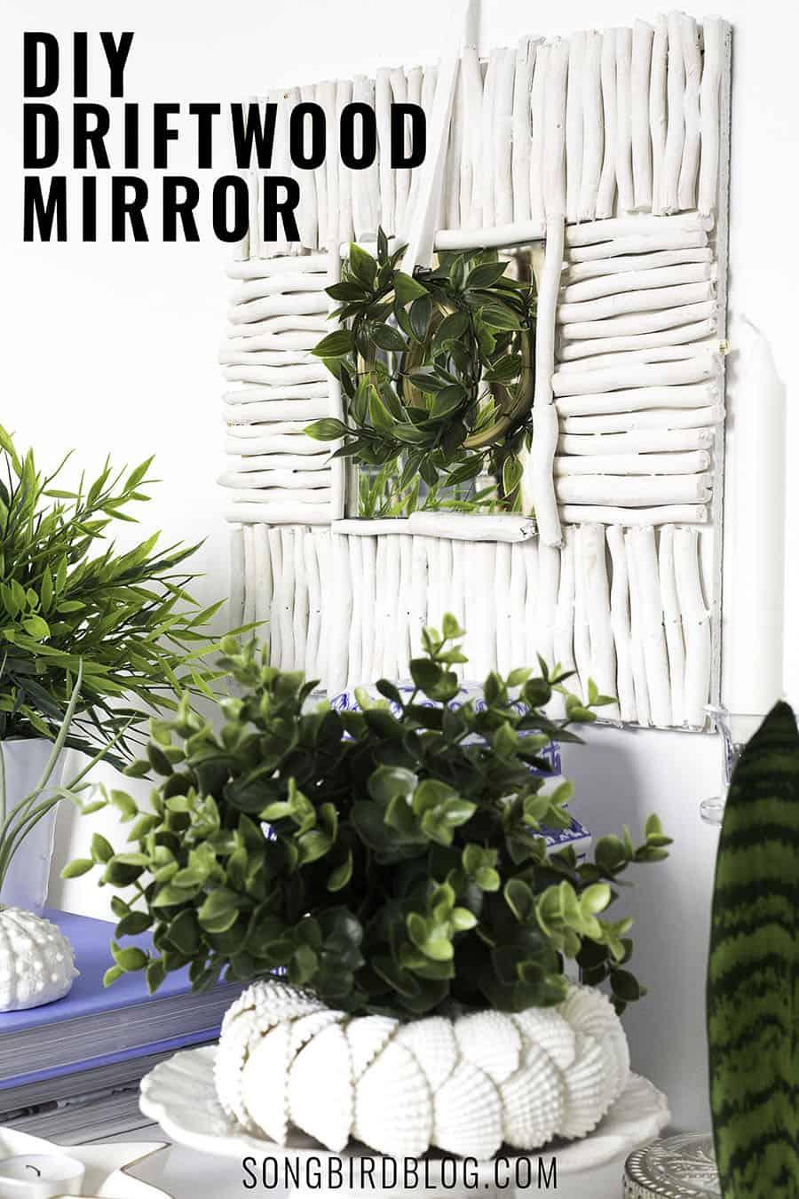 White driftwood mirror DIY