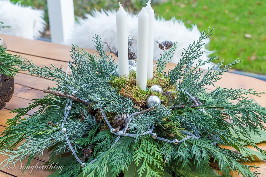 Christmas centerpiece in tones of grey
