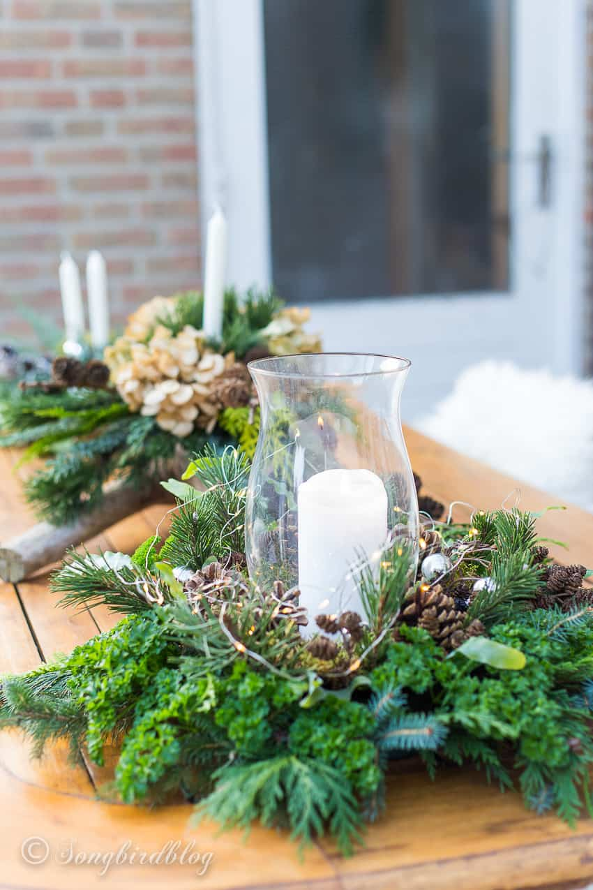 garden table with Christmas decor