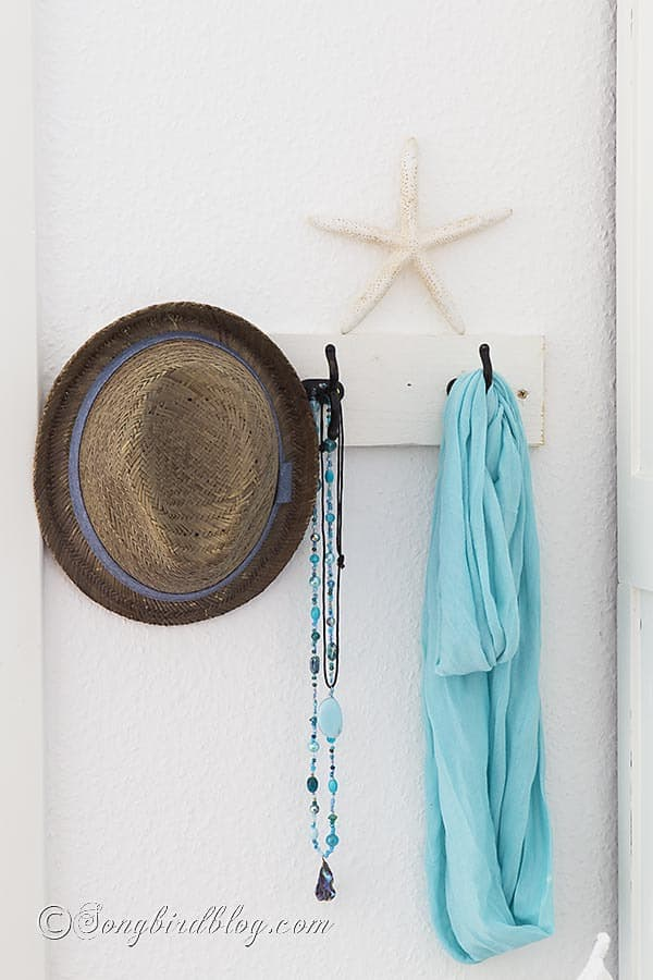 Bedroom decor. Summer decoration, wall decor, pretty board with hooks via songbirdblog.com