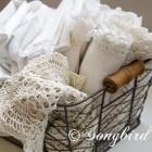 Iron Basket with White Linens 3