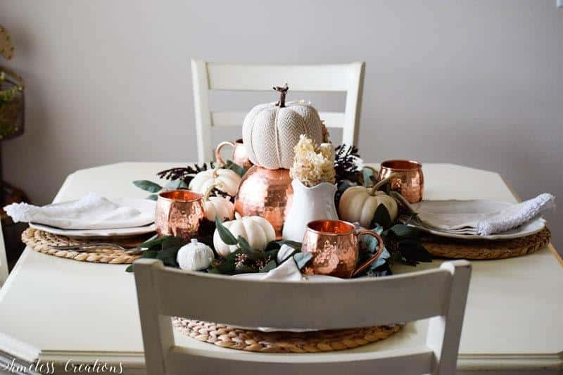 small table Fall decor with copper accents