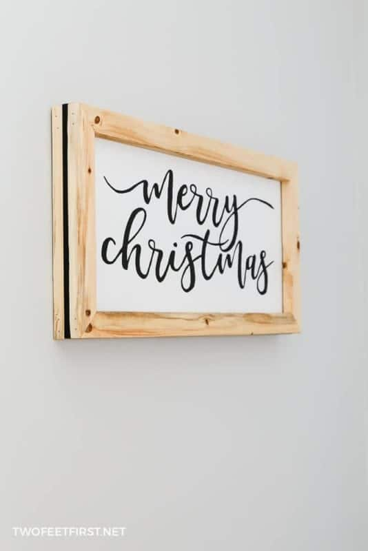 Very easy Christmas sign in a handmade frame.
