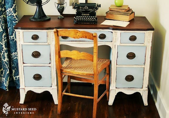 Painted Desk desk makeover before and after using chalk paint