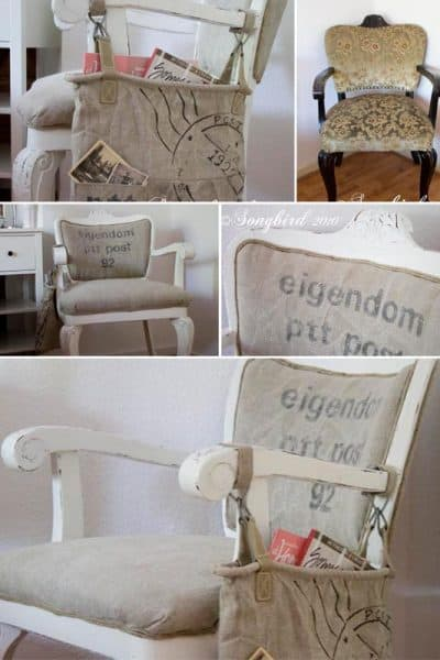 postal sack reupholstered chair makeover project