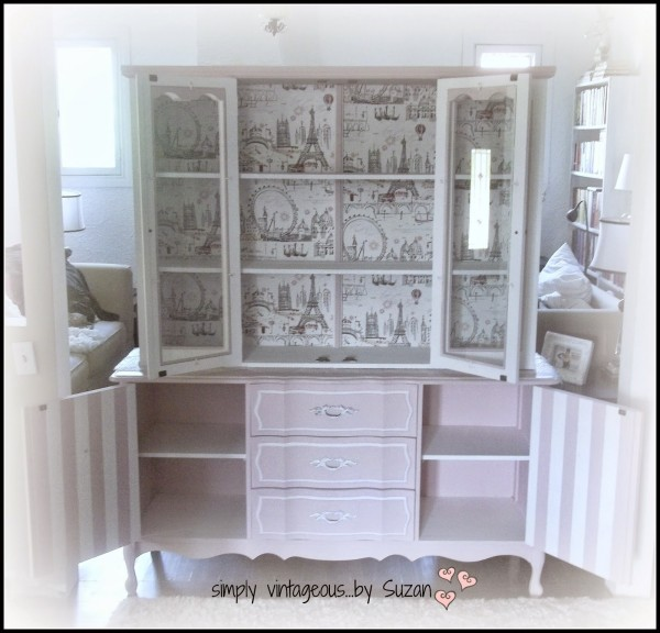 Paris themed hutch makeover