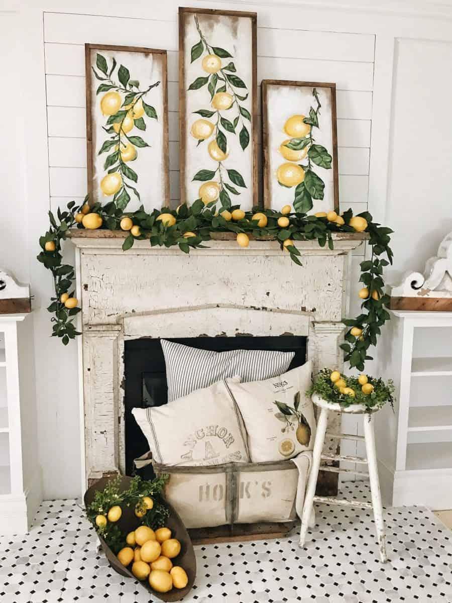 summer mantel with lemon decorations