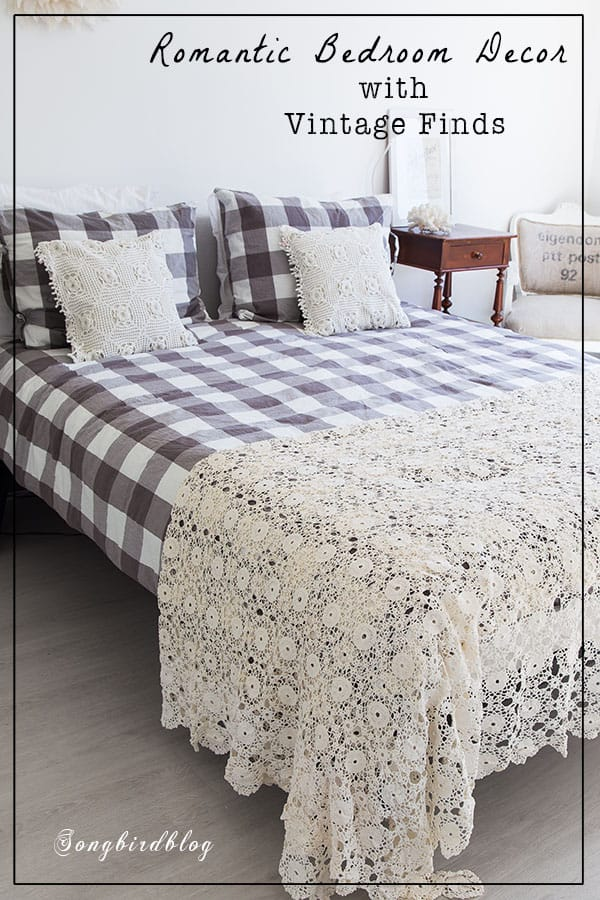Romantic bedroom decor with vintage touches. Adding vintage elements like a handmade crochet bedspread and crochet pillow cases, adds a touch of romance to an otherwise modern bedroom. #vintage #crochet #bedroom #romantic #bedspread #handmade #pillows #etsy