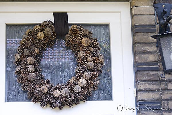 Pine Cone Wreath Fall front door