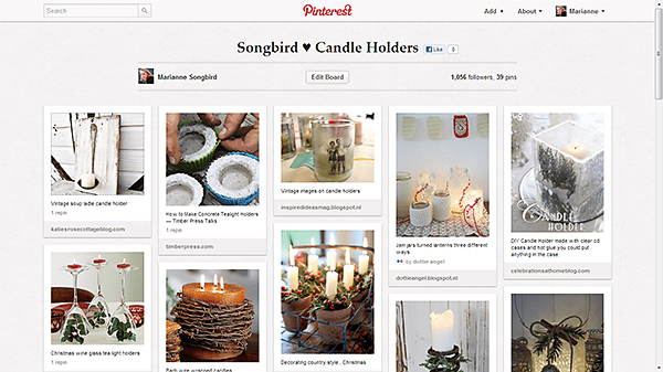 Pinterest board Candle Holder Ideas by Songbird