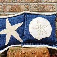 How to Make Starfish and Sand Dollar Denim Pillows