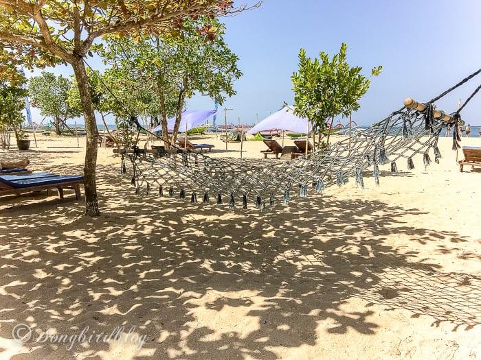 Holiday in Bali. Sanur beach hammock